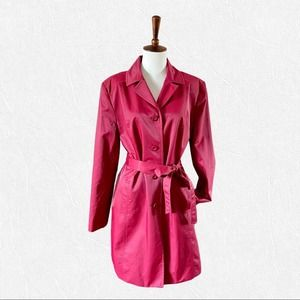 Style & Co Cherry Red Belted Trench Coat